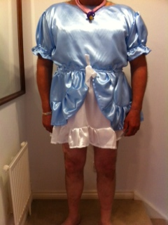 Blue Satin Adult Baby Dress