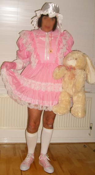 Adult baby sissy pink dress and bonnet