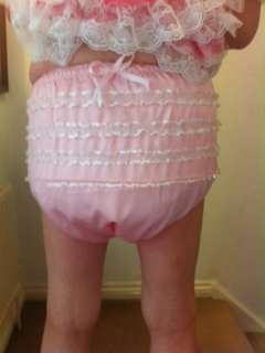 Pink frilly plastic pants