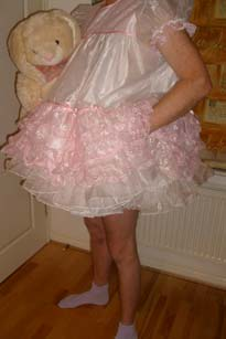White and Pink Organza Adult Baby Dress