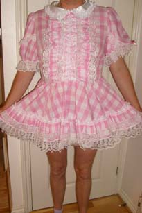 Smart pink and white checks sissy adult baby dress